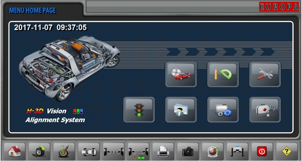 M&B Sniper wheel alignment machine software interface